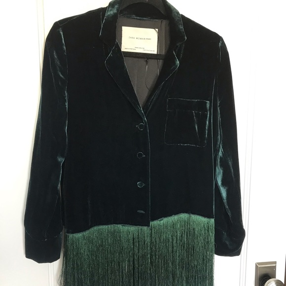 675df94f Zara Jackets & Coats   Studio Emerald Velvet Relaxed Blazer   Poshmark